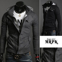 Men Fashion Slim Zip Up Hoodie Jacket