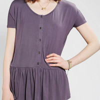 Urban Outfitters - Sparkle & Fade Button-Front Babydoll Tee