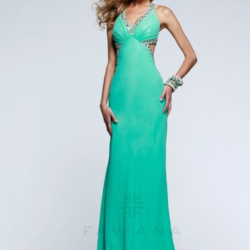 Faviana 7516 Jeweled V-Neck Cut Out Gown