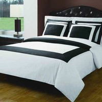 10PC White & Black Hotel Down Alternative Bed in a bag