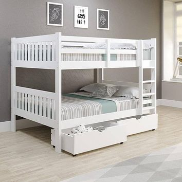 Max Full Size White Bunk Bed with Storage