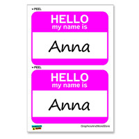 Anna Hello My Name Is - Sheet of 2 Stickers