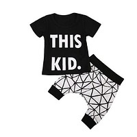 Baby Toddler Kid Boy Black Cotton Clothes T Shirt Tee Top Geometric Pants Outfits Set
