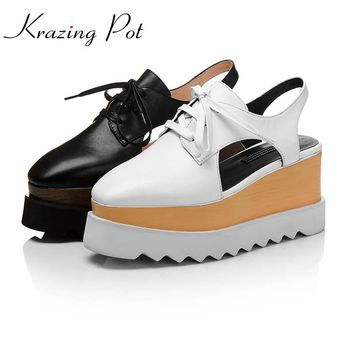 super high heels plus size wedges genuine leather lace up round toe platform increased preppy style European women sandals L22