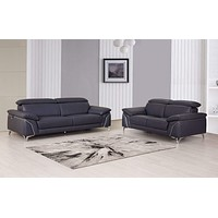 Leather Sofa - 68'' X 41'' X 39'' Modern Navy Leather Sofa And Loveseat