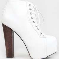 Breckelle's BRITNEY-02 Women's Round Toe Lace Up Zipper Wooden Chunky High Heel Platform Ankle Booties, Color:WHITE, Size:6.5