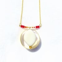 White Onyx Necklace, White Onyx Stone, White Onyx, Onyx Stone, Brass, Pendant, Necklace, Jewelry, Statement Piece, White, Gold, Circle, Hoop