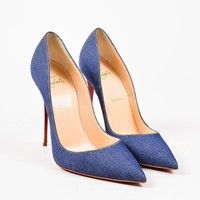 PEAP3D5 Christian Louboutin Blue Denim White Leather Heel So Kate Pointy Pumps