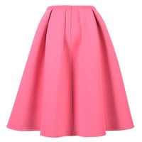 Pink Pleated Midi Skater Skirt
