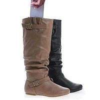 Kalisa106P By Wild Diva, Slouchy Ruffled Shaft Inner Cell Phone Pouch Mid Calf Boots