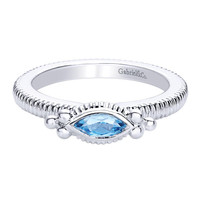 Gabriel Sterling Silver Stackable Ring Featuring Marquise Cut Swiss Blue Topaz