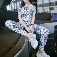 """Gucci"" Women Casual Fashion Personality GG Letter Pattern Print Short Sleeve Trousers Set Two-Piece Sportswear"
