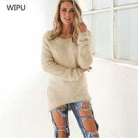 2017 Autumn New Women   Sweaters Fashion Long-Sleeve Casual Pullovers Soft Smooth Warm Knitwear Plus Size S-3XL