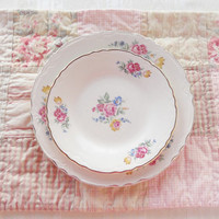 Antique Cottage Style Dessert or Salad Plates, Set of 4, French Country, Shabby Chic, Mid Century, Tea Party, Cottage Chic, Ca. 1940's