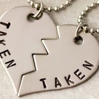 Taken Necklace Set - Girlfriend Boyfriend Gift - Couples Jewelry - Hand Stamped Taken Necklaces - Stainless Steel