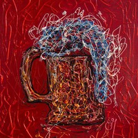 """View: Abstract Beer - (11""""X 14""""X0.5"""" - inspired by Pollock 