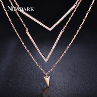 Trendy Double V Shape Multi Layer Necklace 18K Rose Gold Plated Pendants Jewelry For Women Valentines