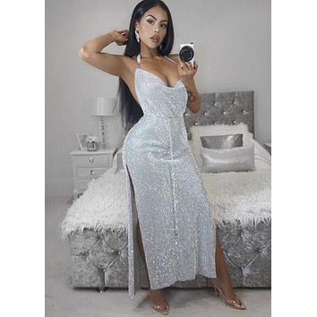 Verena Crystal Maxi Silver Dress