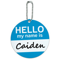 Caiden Hello My Name Is Round ID Card Luggage Tag