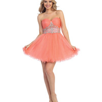 Coral Beaded Sweetheart Chiffon Dress 2015 Homecoming Dresses