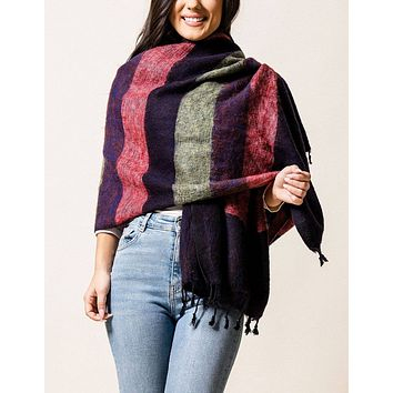 Himalayan Yak Wool Wrap - Cranberry