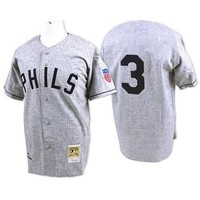 Grey 1942 Throwback Chuck Klein Jersey , Men's #3 Mitchell And Ness Philadelphia Phillies