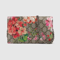 GUCCI Auth 402724 KU2IN 8693 GG Blooms Chain Wallet Beige Ladies FS New #1614