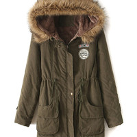 Military Green Pocket Patch Detail Faux Fur Hooded Parka Coat