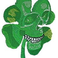 Clover Leaf Irish Celtic Skull Iron On Embroidered Patch