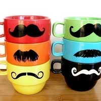 Mustache Mug Stacking Rainbow Mustache Mugs With Holder by Uptown Avenue-now sold out :(