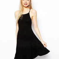 Strap Adjustable Spaghetti Strap Simple Design Black Backless One Piece Dress [6331508868]