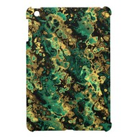 Golden And Turquoise Fractal Art Fabric. Awsome iPad Mini Cover from Zazzle.com