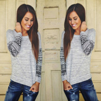Womens Long Sleeve Floral Printed T Shirt