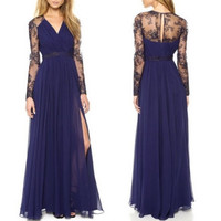 Sexy Lace Long Chiffon Evening Formal Party Cocktail Dress Bridesmaid Prom Gown = 1956735556