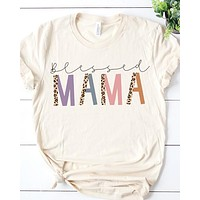Blessed Mama Leopard Graphic Tee