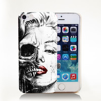 marilyn monroe skull face Hard Transparent Cover Case for iPhone 4 4s 5 5s 5c 6 6s Protect Phone Cases