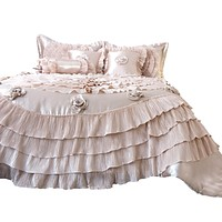 Tache Satin Ruffle Luxury Floral Champagne Beige Frosted Field Comforter Set (MZ1051)