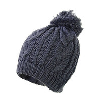 FUNOC® New Ladies Mens Winter Warm Ski Cable Knit Knitted Bobble Pom Beanie Cap Hat (Gray)