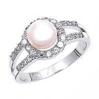 Sterling Silver Cubic Zirconia & Simulated Pearl Ring 10MM ( Size 5 to 10 ), 7