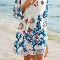 Soft Surroundings Tropical Coral Cover Up Dress Tunic Top