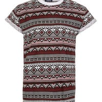 Burgundy Aztec High-Roll T-Shi - New In
