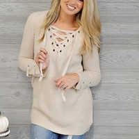 * Kyler Lace Up Sweater : Oatmeal