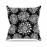 "Julia Grifol ""Black And White Garden"" Digital Vector Throw Pillow"