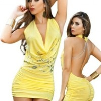 Sexy Yellow Cowl Neck Open Back Halter Dress