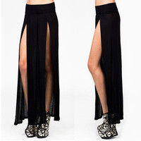 SEXY TRENDS HIGH WAISTED DOUBLE SLITS OPEN RAYON KNIT LONG MAXI SKIRT S M L XL