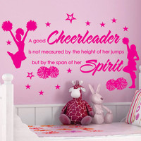 CHEER Cheerleaders Poms GIRLS Stars Custom Vinyl Wall Decals Art Stickers Quote Saying Nursery Kids Girls