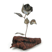 Brass Blossom - Vintage 1970s Metal Rose Sculpture in Beautiful Burl Wood Base, C. Jere Style Brutalist Art, Steampunk Decor