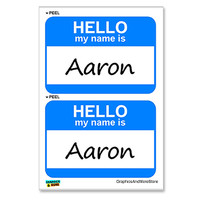 Aaron Hello My Name Is - Sheet of 2 Stickers
