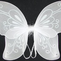 White Sparkling Fairy Costume Wings