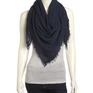 Oversized Crinkled Voile Square Scarf, Navy